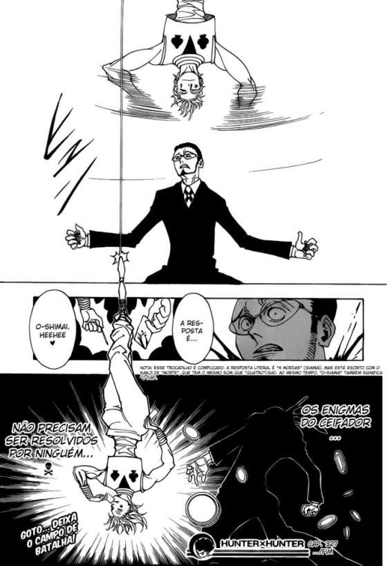 No mangá, o desenrolar da luta não é tão clara como no anime (em relação aos movimentos do Hisoka entre as árvores), mas o final é um pouco diferente, o Gotoh perde a cabeça.